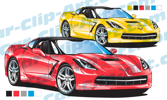576x346 Corvette C7 Stingray Vector Clip Art Car Clip