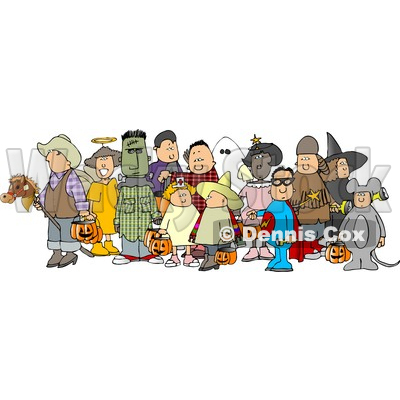 400x400 Of Adults And Children Wearing Halloween Costumes Clipart Djart