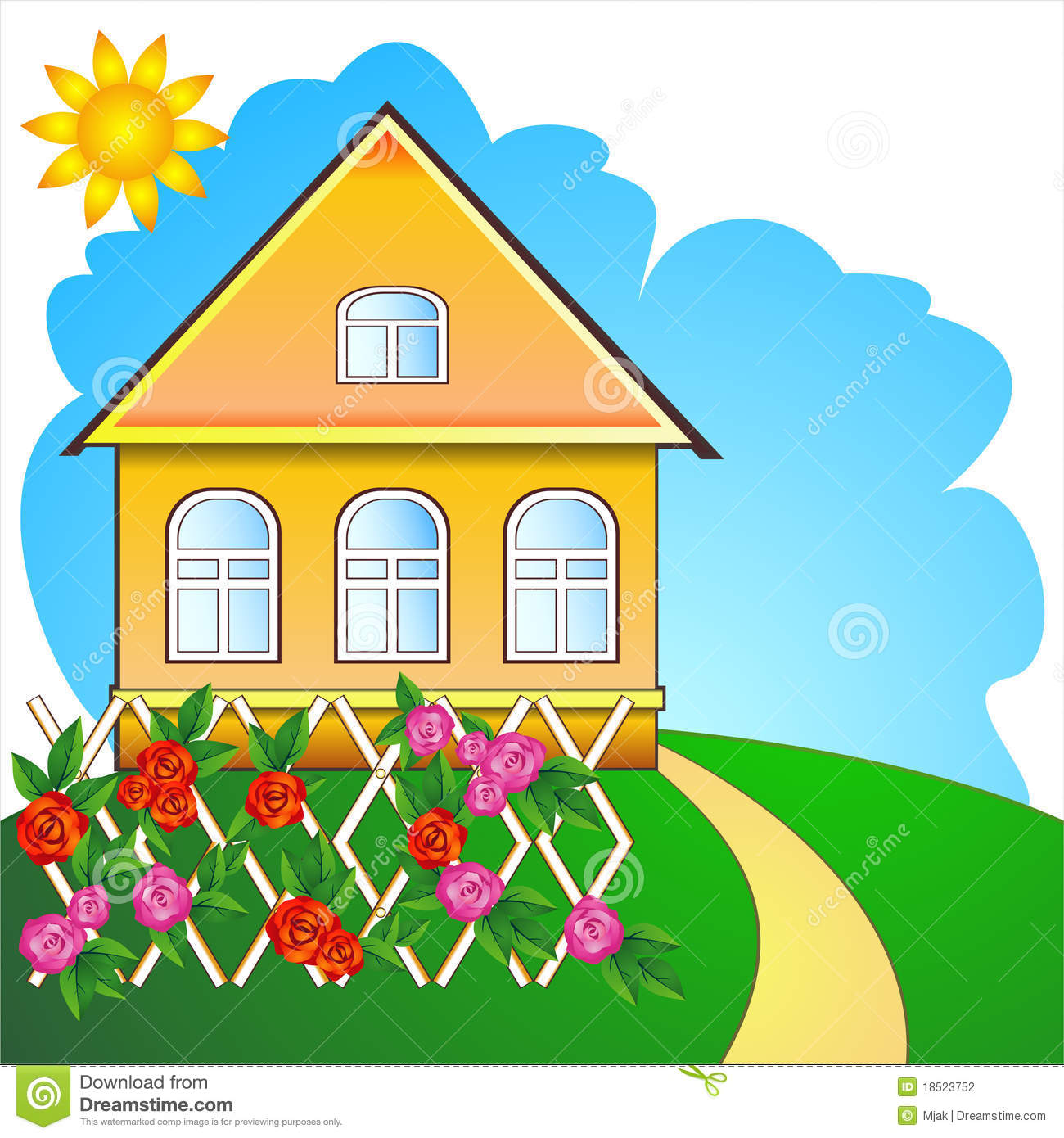 1300x1390 Illustration clipart country house