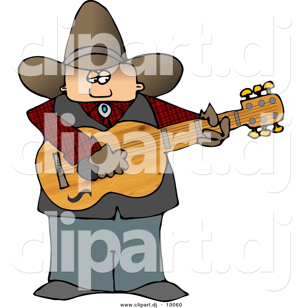 1024x1044 Clipart Of A Cartoon Country Cowboy Playing A Guitar By Djart