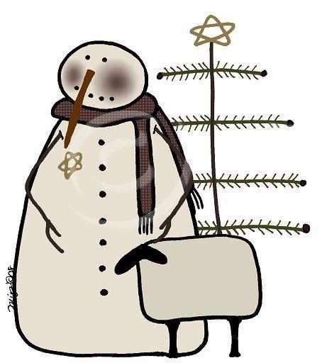 454x512 Primitive Snowman Clipart