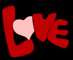 300x250 Free Clip Art Word Love
