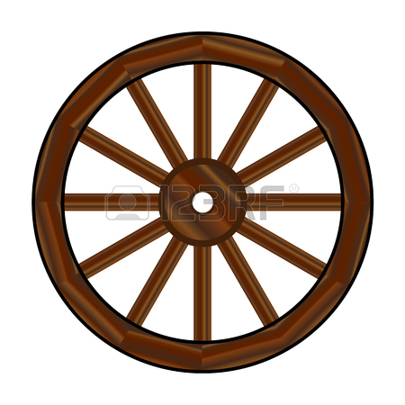 450x450 A Typical Wheel From A Western Covered Wagon In Silhouette Royalty