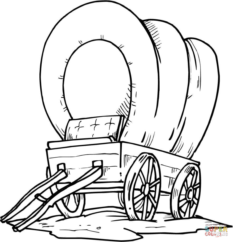 981x1017 Western Wagon Coloring Page Free Printable Pages With Covered