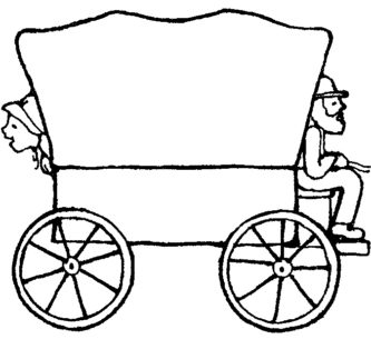 333x305 Covered Wagon Coloring Page