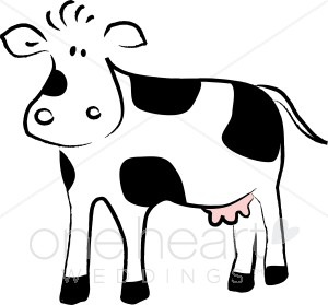 300x279 Cartoon Black And White Cow Country Wedding Clipart