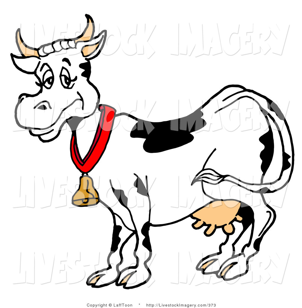 1024x1044 Clip Art Of A Happy Black And White Dairy Cow Wearing A Gold Bell