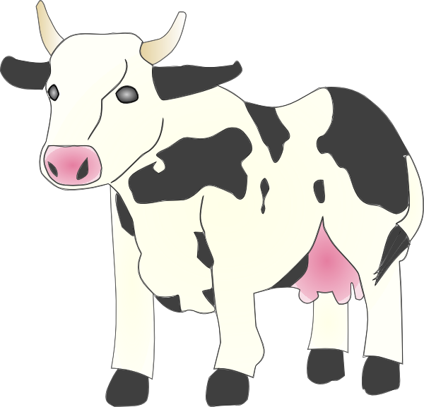 600x577 Cow Clip Art Black And White
