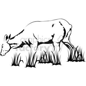 300x300 Royalty Free Black And White Elk Cow 394994 Vector Clip Art Image