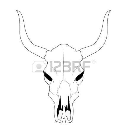 429x450 Wild West Cow Skull With Horns. Black And White Vector Clip Art