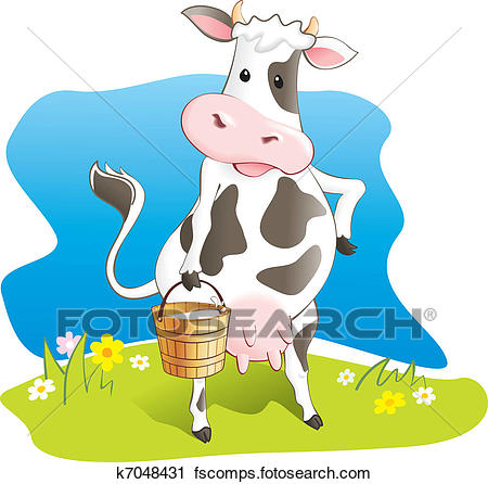 450x446 Clipart Of Funny Cow Carry Wooden Milk Pail K7048431