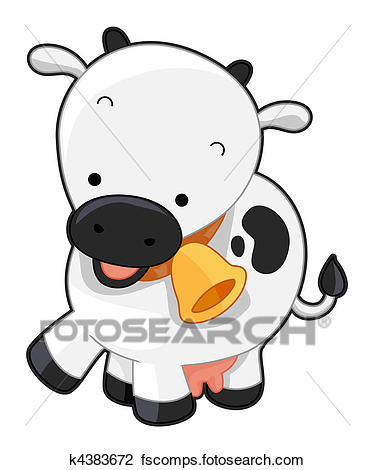 375x470 Clip Art Of Cute Cow K4383672