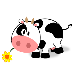 256x256 Cute Cow Clipart