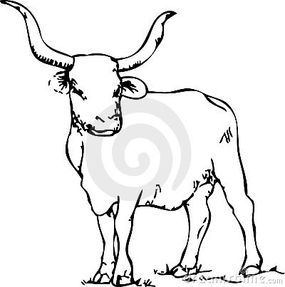 400x403 Longhorn Cattle Clipart Black And White