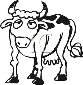 292x300 Black And White Cow Clipart