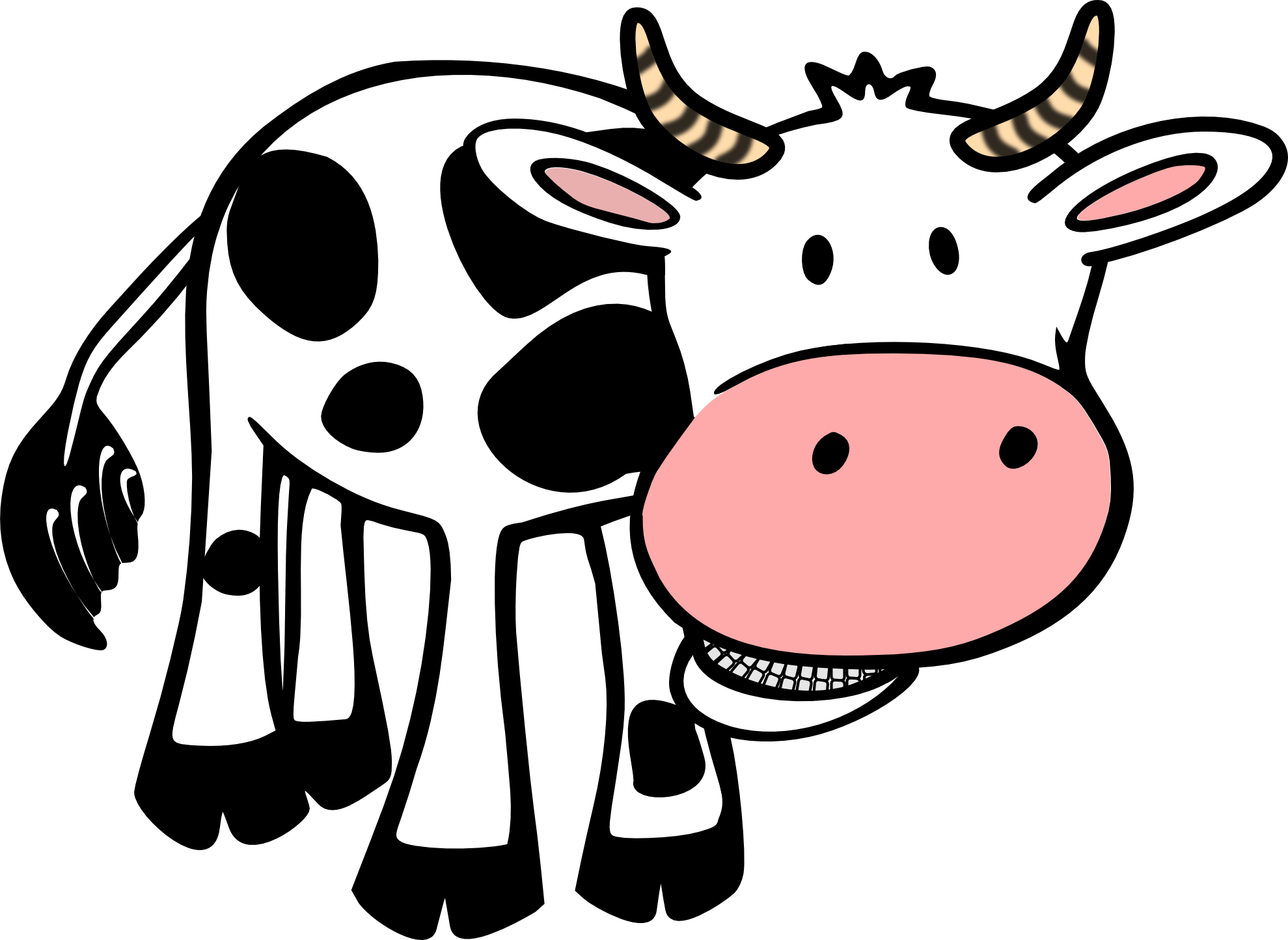1979x1444 Clip Art Cow Black White Line Art Bw Super