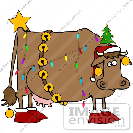 450x450 Clip Art Graphic Of A Christmas Cow Decorated Like A Tree