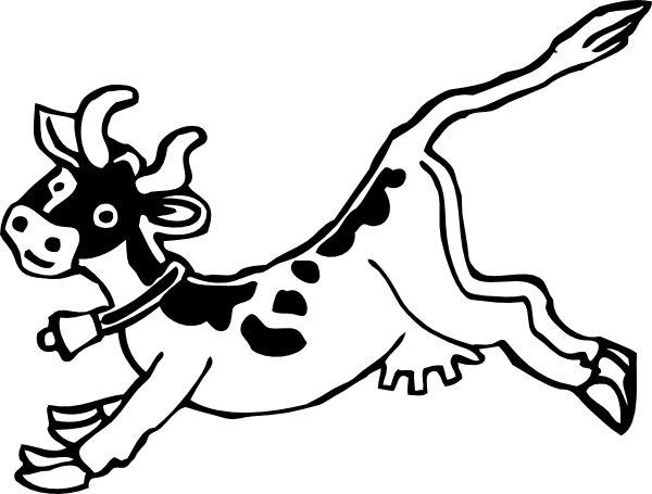 600x455 Jumping Cow Clip Art