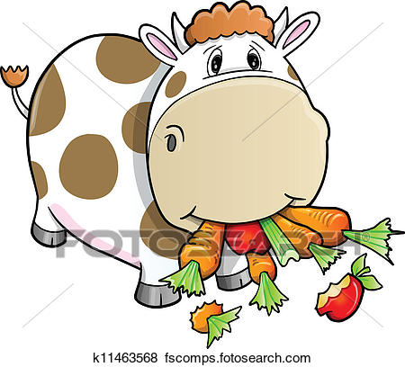 450x408 Clip Art Of Cute Farm Cow Eating Vegetables K11463568