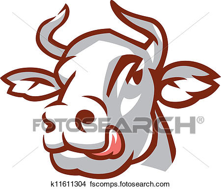 450x385 Clipart Of Head Of White Cow K11611304