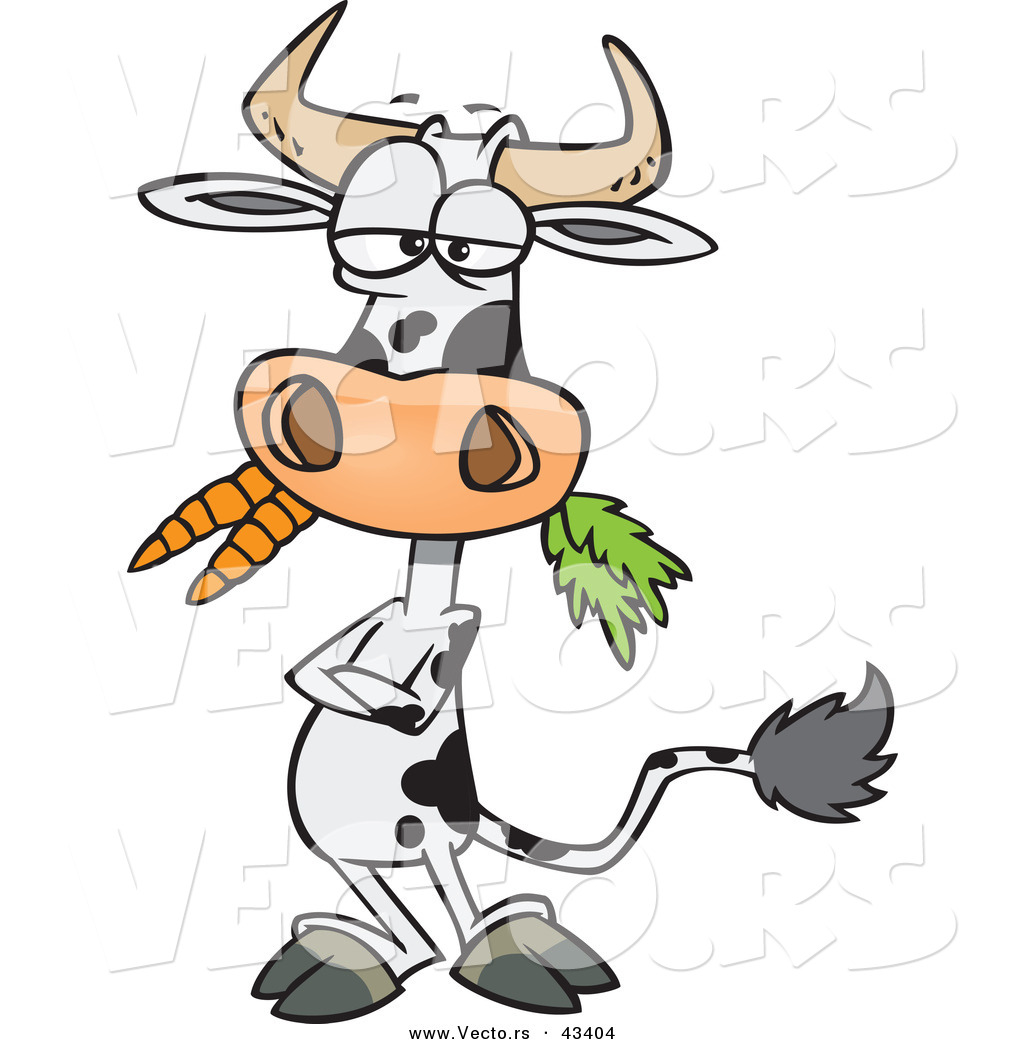 1024x1044 Vector Of A Cartoon Cow Eating Carrots While Standing With His