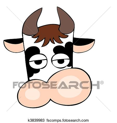 450x470 Clipart Of Funny Dairy Cow Face. K3839983
