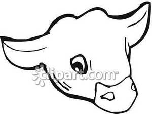 300x225 Cute Cow Face Clipart