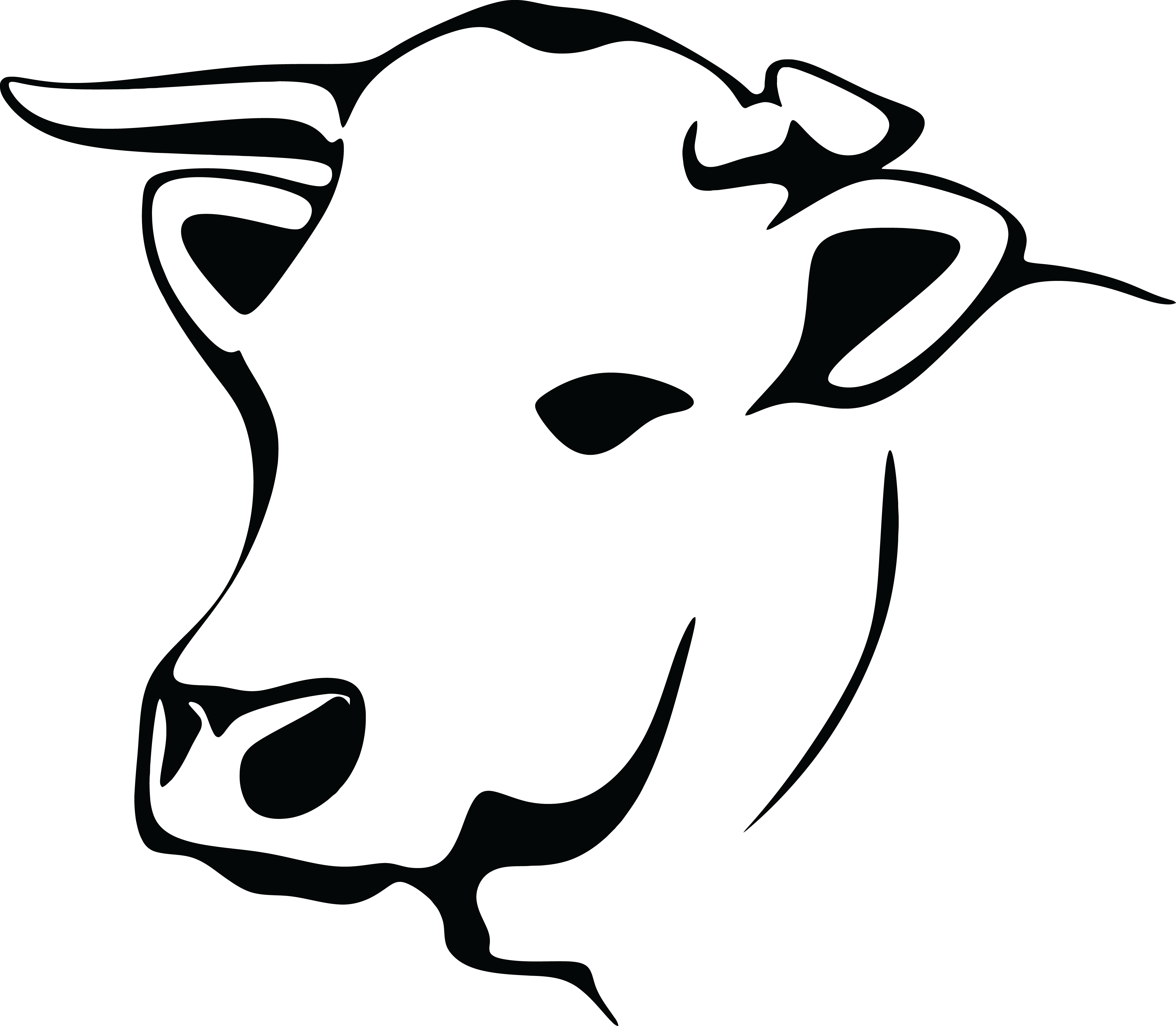 4000x3488 Free Clipart Of A Black And White Cow