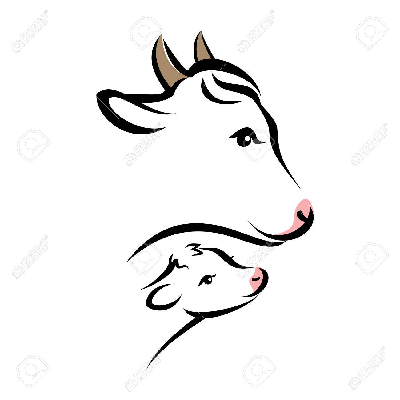 1300x1300 Happy Cow Portrait, Isolated Silhouette In Simple Black Lines