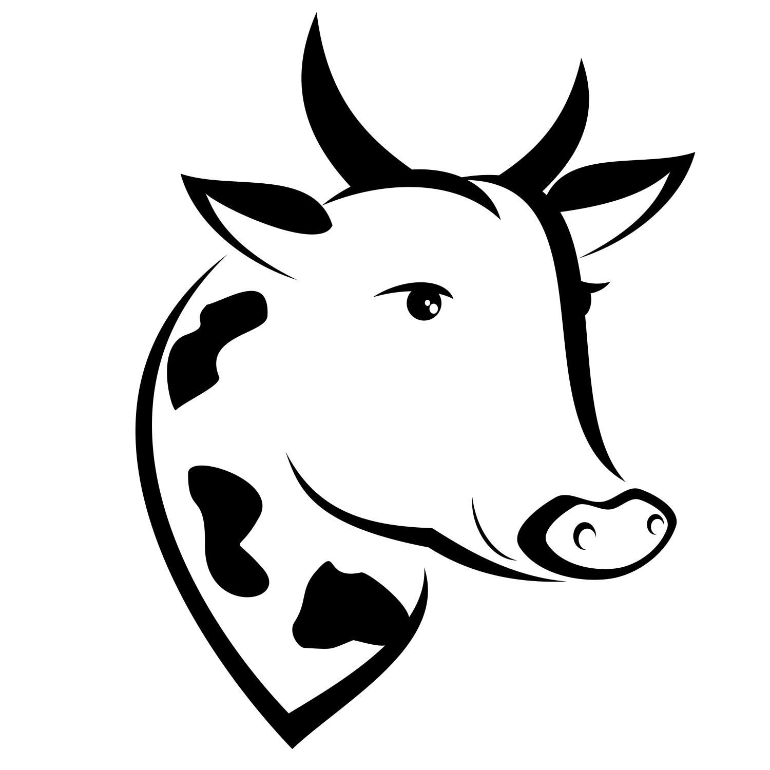 1500x1500 Vector For Free Use Vector Cow's Head