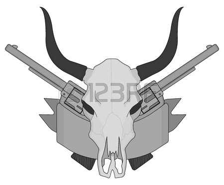 450x371 Wild West Cow Skull With Horns. Black And White Vector Clip Art