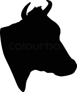 268x320 Vector Silhouette Of The Cow On White Background Stock Vector