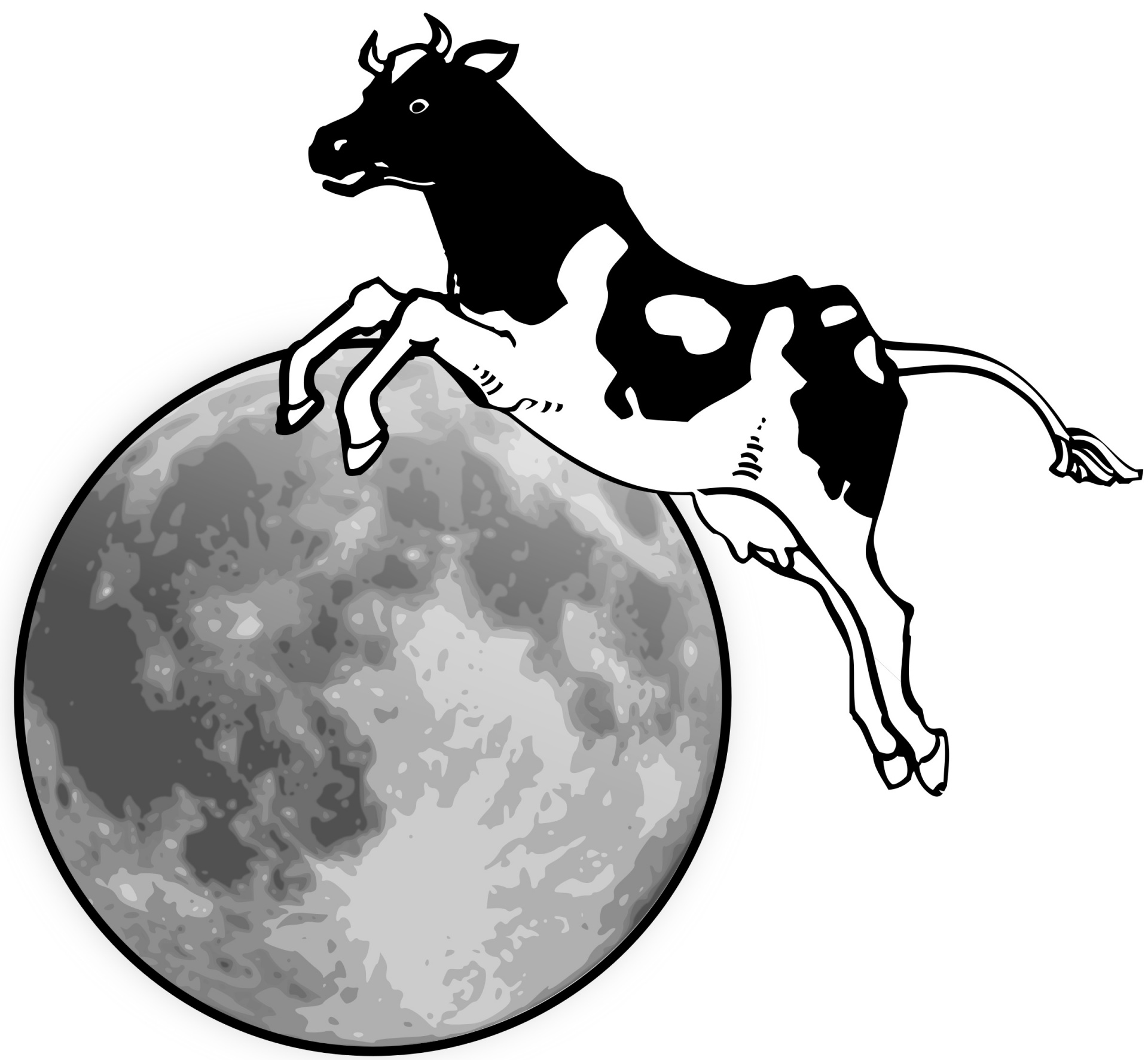 1920x1772 Cow And Moon Free Stock Photo