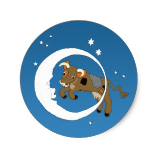 324x324 Cow Jumped Over The Moon Stickers Zazzle