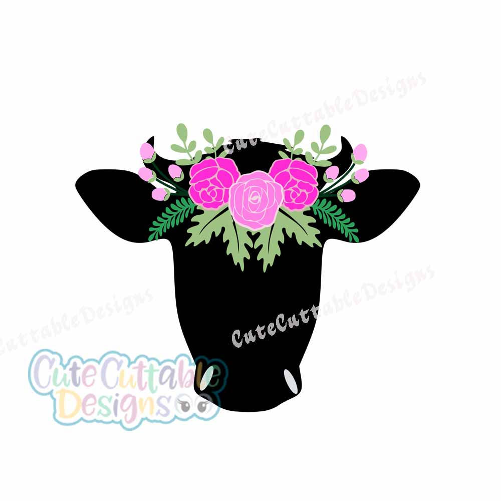 1000x1000 Cow Skull, Floral Cow Head Svg, Cut, File, Bull Flowers, Vector