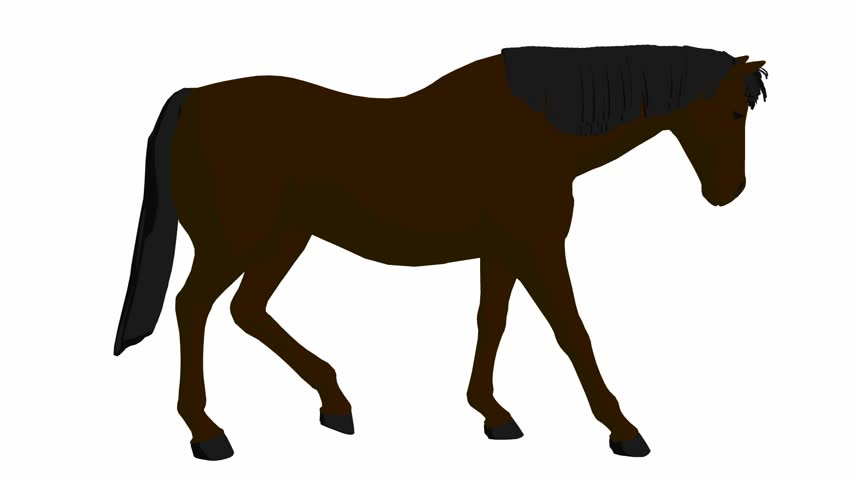 852x480 Brown Cow Runs On A Transparent Background. Cyclic Animation