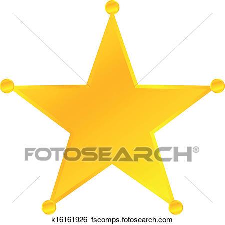 450x449 Clip Art Of Golden Sheriff Star Badge K16161926