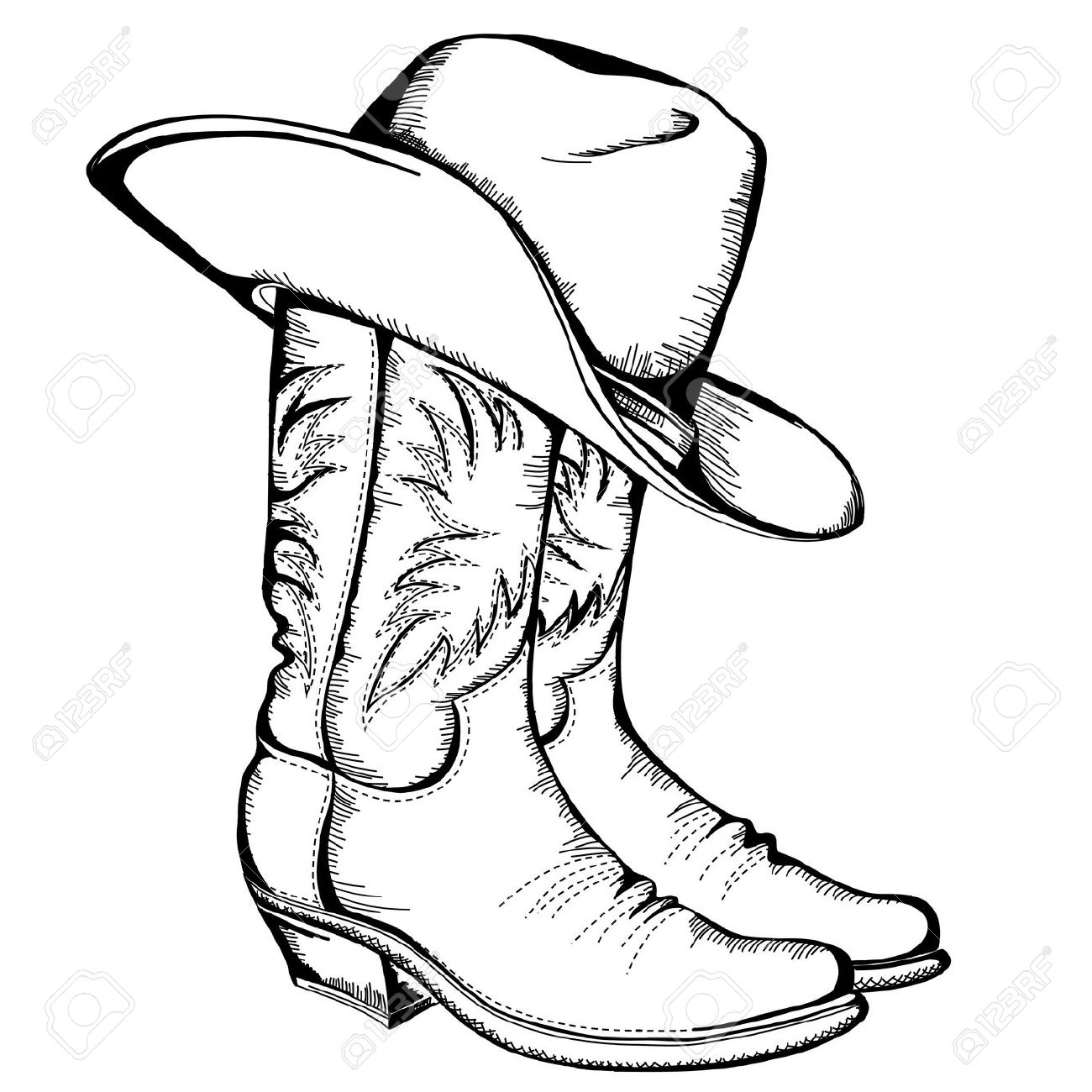 1300x1300 Cowboy Boots And Hat Graphic Illustration Royalty Free Cliparts