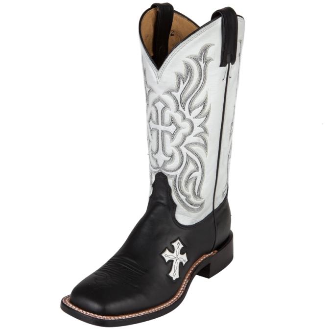 672x672 Tony Lama Black W White Cross Cowgirl Boot