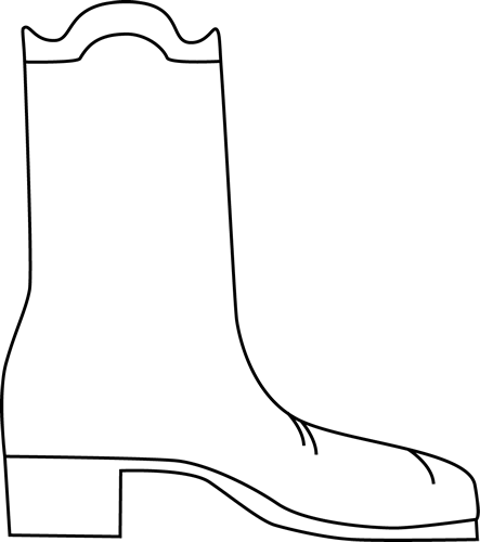 443x500 Black And White Cowboy Boot Clip Art