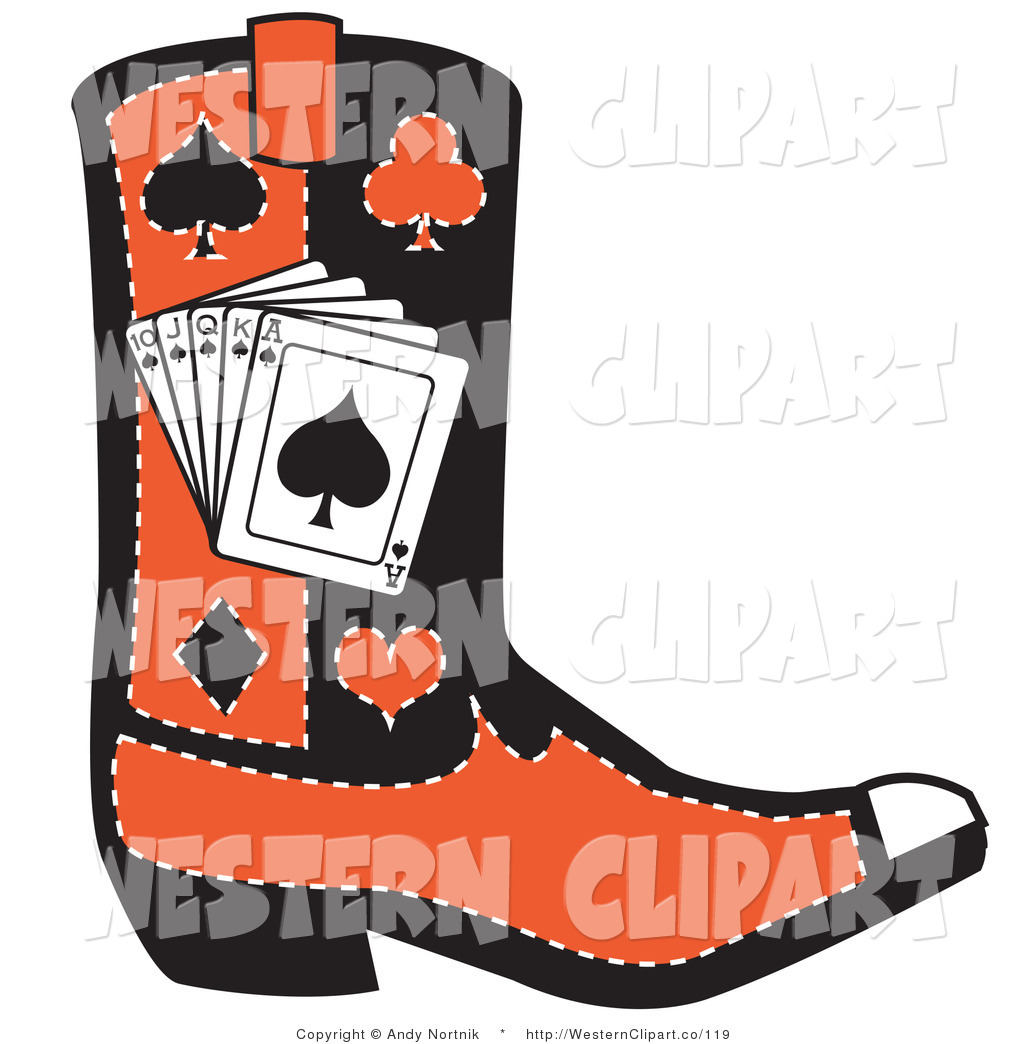 1024x1044 Vector Western Clip Art Of A Black And Red Cowboy Boot With Poker