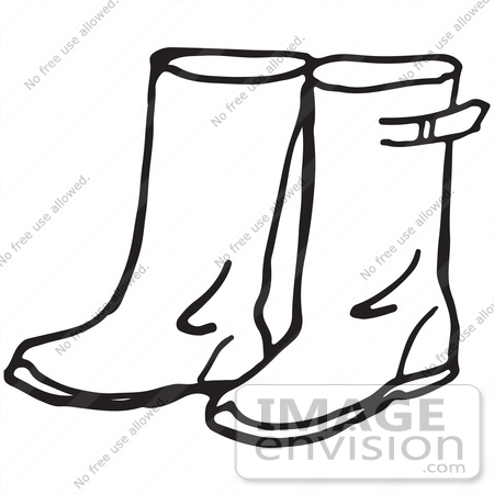 450x450 Clipart Of A Pair Of Rain Boots In Black And White