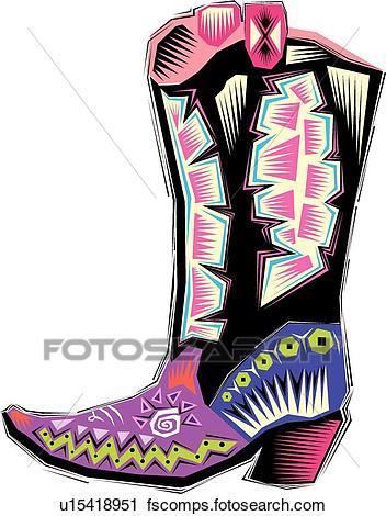 352x470 Clipart Of Fiesta Cowboy Boot U15418951