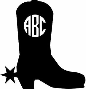 290x300 Custom Cowboy Boot Monogram Initials Vinly Decal U Pick Size +