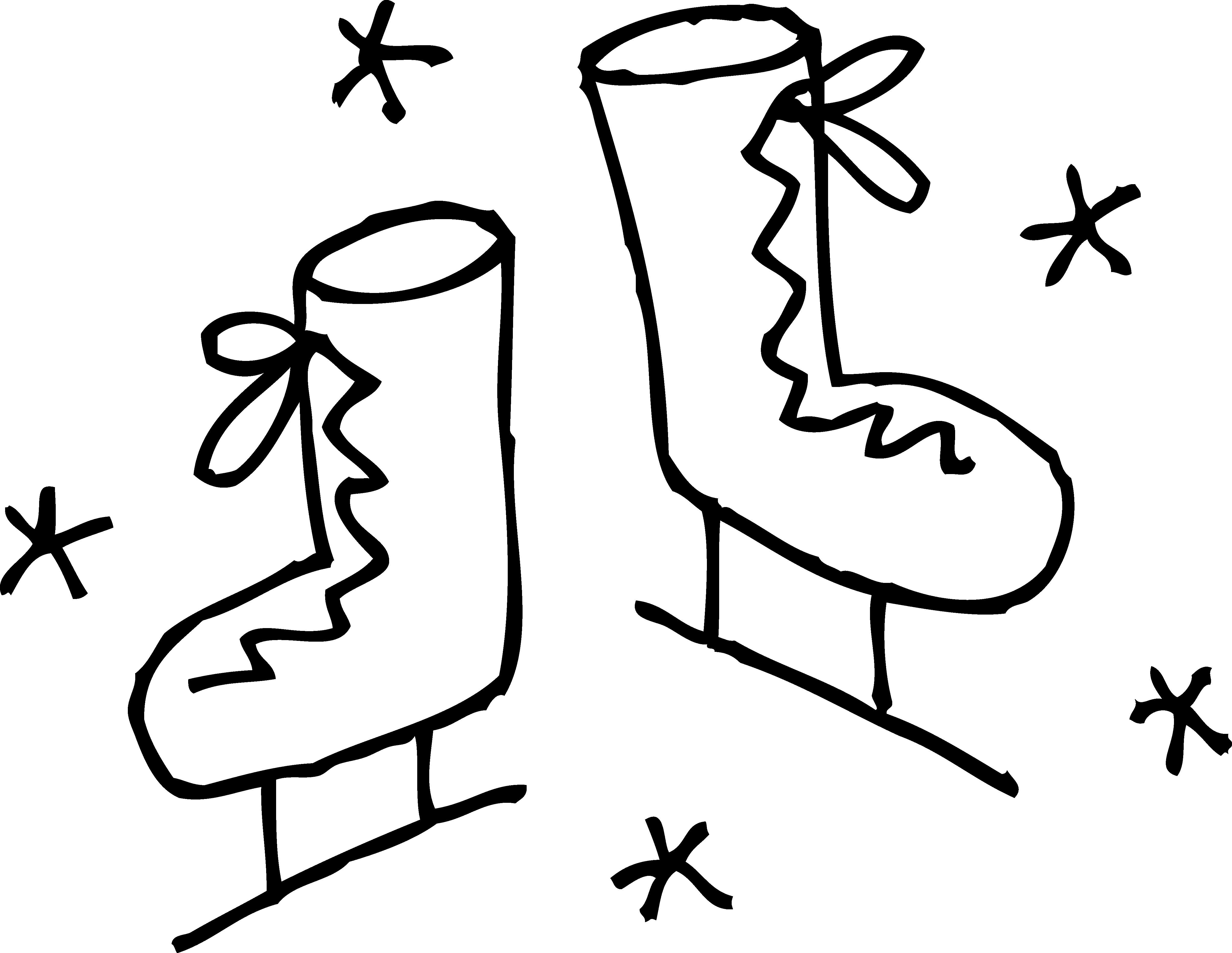 4819x3731 Ice Skating Boots Clipart