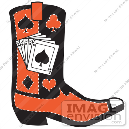 450x450 Royalty Free Cartoon Clip Art Of A Black And Red Cowboy Boot