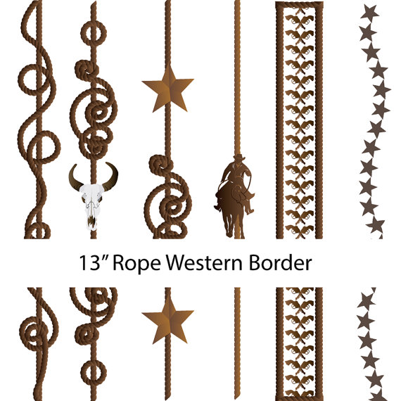 570x570 Western Cowboy Vertical Border Overlay Clipart Graphics High