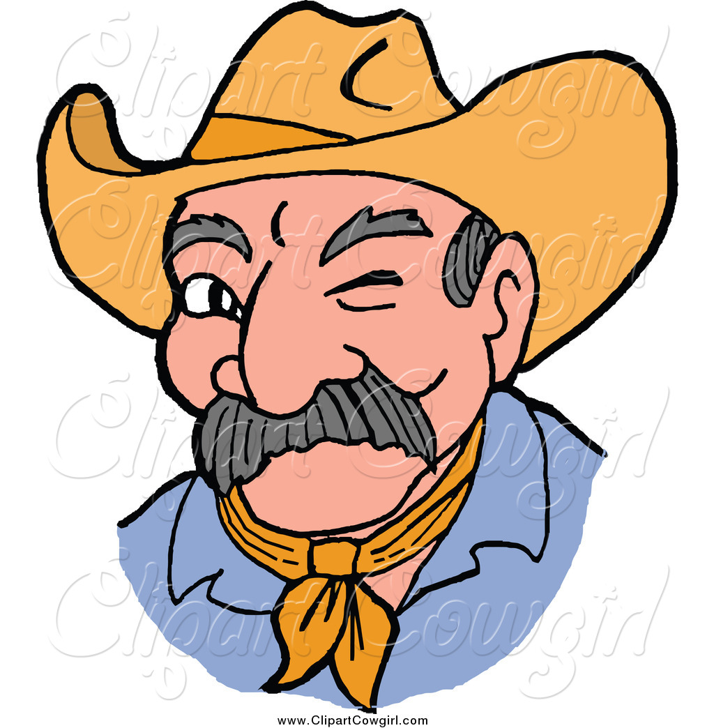 1024x1044 Clipart Of A Winking Cowboy Man By Lafftoon
