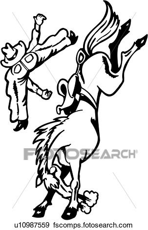303x470 Clip Art Of , Action, Cowboy, Horse, Rodeo, Sport, Western