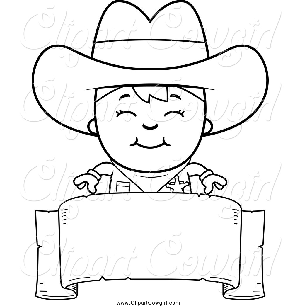 1024x1044 Clipart Of A Black And White Sheriff Cowboy Kid Over A Blank